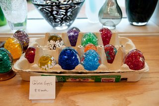 Decorative eggs at Hudson Beach Glass.