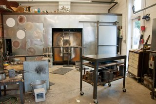 The kiln at Hudson Beach Glass.