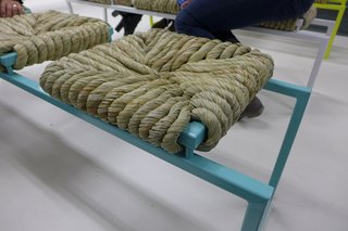Jasmina Vaisanen and Esther van Roemburg's Mass bench is made from turf grasses woven using traditional techniques. These examples were not yet fully dried and gave off a pleasant grassy meadow scent. Once dried, the seat will turn darker in color.