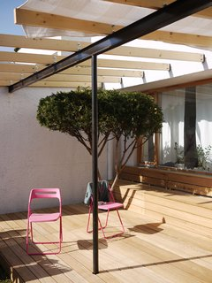 How to Design with Pink - Photo 7 of 15 - Being on the ground floor has its benefits—namely a bit of outdoor space. The black I-beam supporting the canopy of exposed joists offers a nice contrast to the wood above and below. Pink chairs do the trick as well.