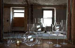 Anna Karlin: Designing in 360 Degrees - Photo 2 of 6 - From the hand-blown tumbler set to the decanter with brass stopper, this whole set would outfit any bar cart in style. Photo by Don Freeman.