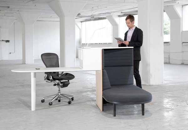 Plumstead designed Integrated Workspace to accommodate all of the postures one might have throughout the workday—a traditional desk, standing station, and daybed.