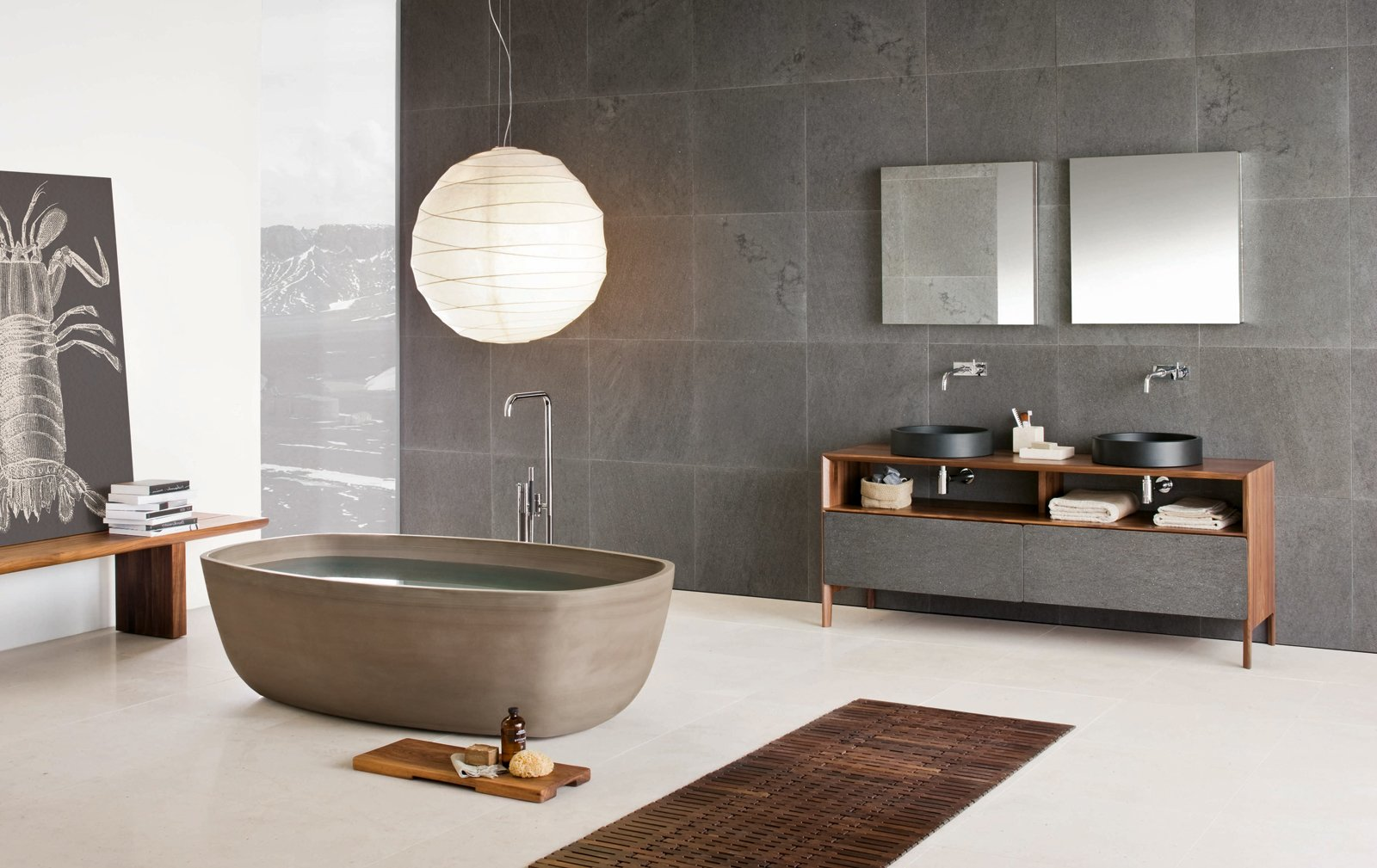 Inkstone bathtub in Sand Brown stone, Inkstone wash-basins, Black Rock stone, and Neos furniture (Neos furniture designed by Luca Martorano). Tagged: Bath Room, Freestanding Tub, Vessel Sink, and Wood Counter.  Best Photos from Inky Inspiration