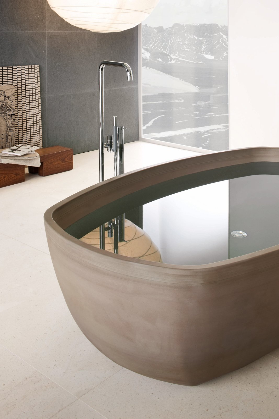 Inkstone bathtub, Sand Brown stone. Tagged: Bath Room and Freestanding Tub.  Best Photos from Inky Inspiration