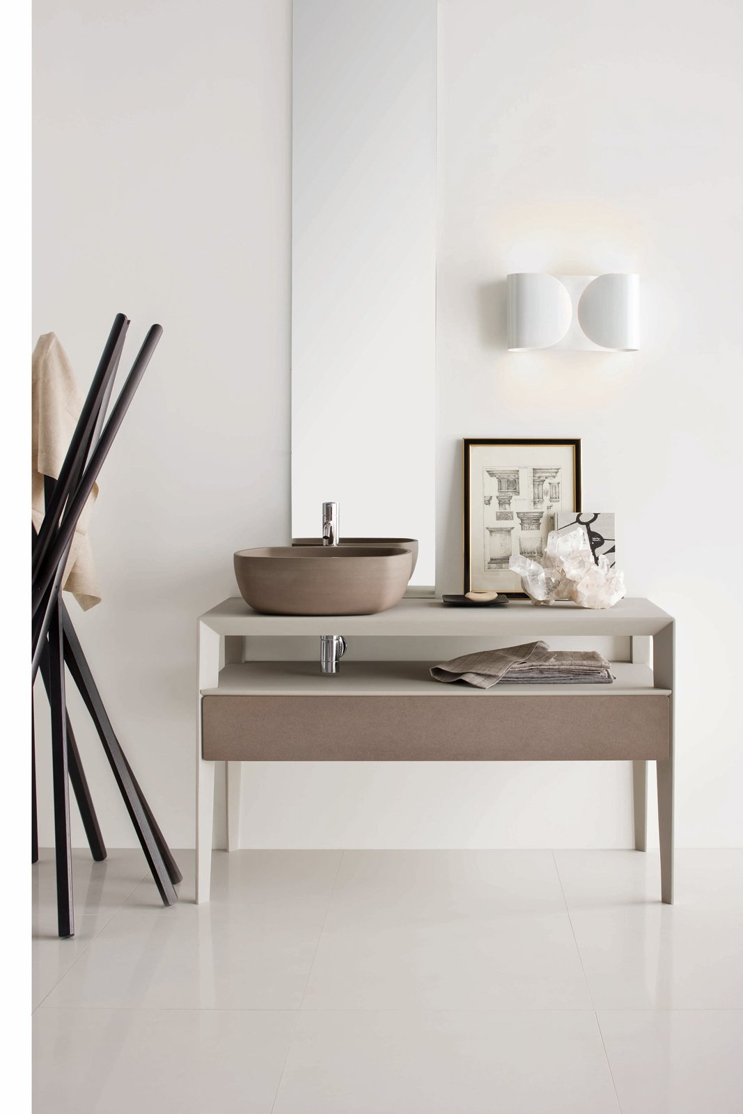 Inkstone wash-basin in Sand Brown stone with Neos furniture in an Ice silk finish, with Sand Brown stone fronts (Neos furniture designed by Luca Martorano). Tagged: Bath Room and Vessel Sink.  Best Photos from Inky Inspiration