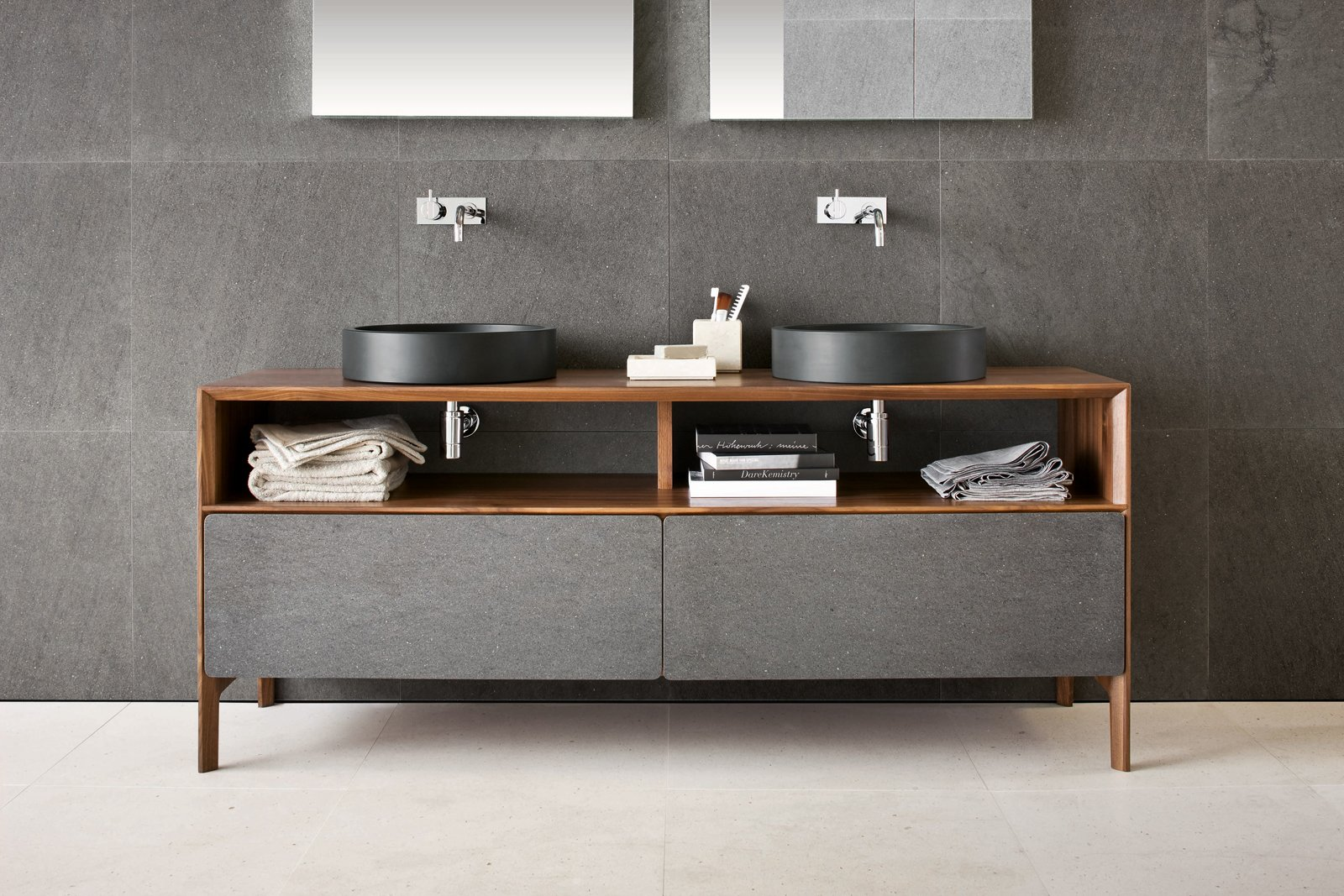 Inkstone wash-basins in Black Rock stone with Neos furniture, made from solid-walnut with Basaltina stone fronts (Neos furniture designed by Luca Martorano). Tagged: Bath Room, Wood Counter, and Vessel Sink.  Best Photos from Inky Inspiration