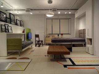 In early 2012, when New York City Mayor Michael Bloomberg announced the competition for the city's adAPT Micro-Unit Housing Program, Resource plotted out a 300-square-foot model apartment in its showroom. The multitasking furniture installed in the mini-abode sleeps three, seats eight for dinner, and includes a full-size bathroom and efficiency kitchen.