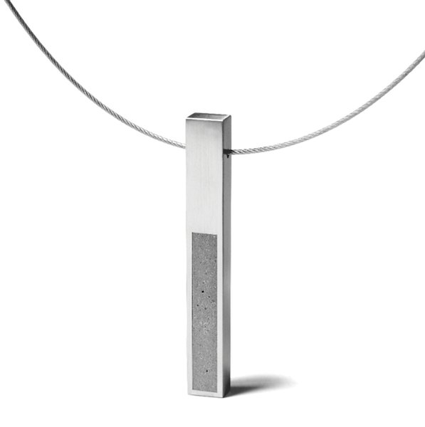 The KMP212 pendant necklacepays homage to Donald Judd's sculptures.