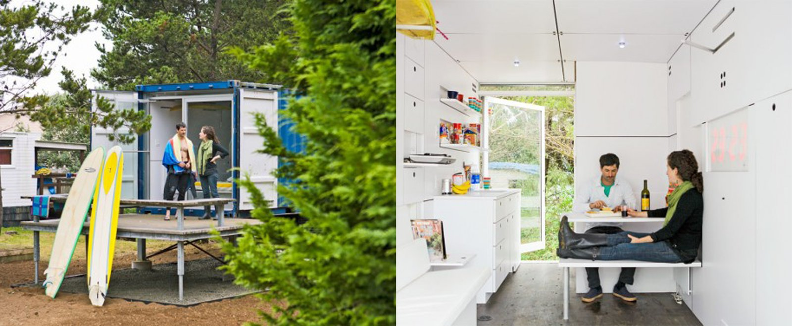 Hartman Kable designed the Surfshack to include loads of built-in, fold-down furniture to keep the 160-square-foot container clutter free. Check out this video tour of the project and watch extra closely at about 49 seconds in to see a Dwell cameo.  Shipping Containers by Dwell from Amazing Examples of Shipping Container Architecture