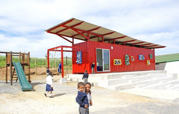 Tsai Design Studio turned a shipping container into a classroom located just outside of Cape Town, South Africa.  Shipping Containers by Dwell from Amazing Examples of Shipping Container Architecture