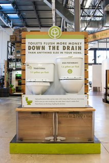 One of TreeHouse's several experiential learning centers educates shoppers about the differences between conventional and eco-friendly toilets.