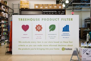 "TreeHouse displays the company's product filter. Every item sold in the store must pass the litmus test for health, performance, sustainability, and social good. Will it work in Austin? It certainly seems to be. ""But Texas is the great experiment,"" says Yanosy. ""We want to show people that this isn't hippie. This is about efficiency, and healthier homes for your kids, and well made products."""
