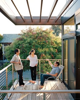 "Good Sidings<br><br>""You don't think of maintenance as a sustainability issue, but it is,"" says Swatt, who points out that most exteriors require stain, paint, or sealant for upkeep. This house instead boasts a zero-maintenance facade made from concrete block, corrugated metal, and Parklex—a siding material from a company based in Navarre, Spain. Parklex is an amber-colored wood, yet, because it is a thin veneer set in resin on top of an engineered panel core, it doesn't require any scraping, painting, or sealing. If the siding ever does need cleaning, a pH-neutral soap-and-water solution and a mop will do the trick."