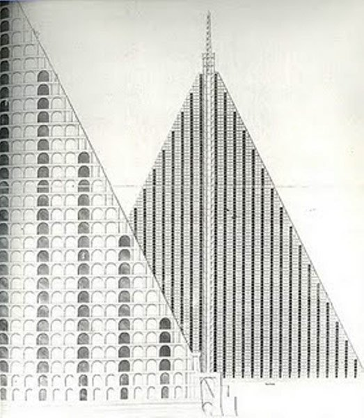 """According to the Architectural Review, this is """"Thomas Willson's 1829 design for a 15-acre, 94-storey pyramid cemetery to be built on Primrose Hill, housing 5 million corpses accessed by steam-powered lifts."""" Photo from The Architectural Review."""