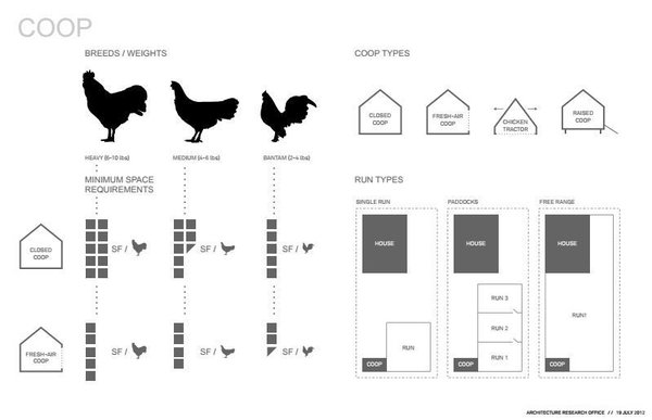 """Cassell wasn't kidding when he said they did serious research. """"This was probably the most architectural brain power ever devoted to the problem"""" of housing chickens, he said. They analyzed a variety of factors, including how many square feet each chicken required, how do you collect eggs, and how you keep chickens safe from predators. Undoubtedly, the last factor was one they had not considered on previous projects."""