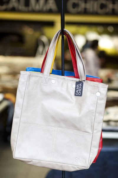 """The Vertical Bag, $95<br><br>""""This is another one of our own products, inspired by a plastic shopping bag that we had made up in leather. It's one of our best sellers and roomy enough for a laptop computer."""""""