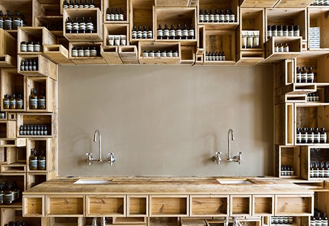 The pine box motif is repeated here at the sink as well.