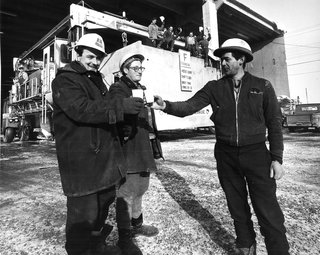 A Look Back at Habitat '67 with Moshe Safdie - Photo 1 of 6 - Builders toast the casting completion of the last box at Habitat '67 in Montreal, Quebec.