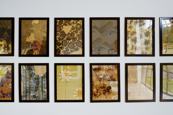 Lyng Hansen steamed and framed remnants of 19th-century wallpaper found during the renovation.