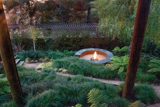 Simple, Concrete-and-Steel Fire Pit in Oakland - Photo 1 of 2 -