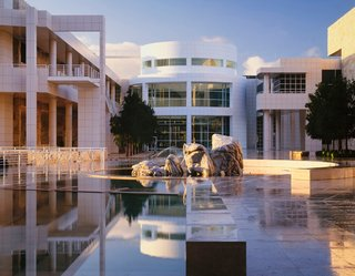 "Richard Meier's Practice at 50 - Photo 7 of 10 - The Getty Center, Los Angeles, 1984-97. (Copyright Scott Frances)<br><br>Oh, and about that signature shade of clear, bright white paint? It's made by Benjamin Moore and it's called Meier White. ""If I remember correctly,"" Meier says, ""it came out around the time we were doing the Getty."""