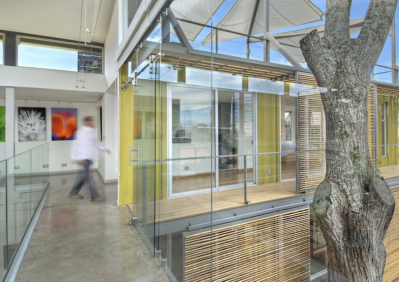 The stacked containers and inner courtyard, which wrap around a cedar tree, allow for plenty of natural sunlight, which helps illuminate the client's work on display in the main gallery space. Tagged: Hallway and Concrete Floor.  Photo 5 of 11 in Who Knew a Relaxing Tropical Retreat Could Be Made of Shipping Containers? from Who Knew a Relaxing Tropical Retreat Could Be Made of Shipping Containers