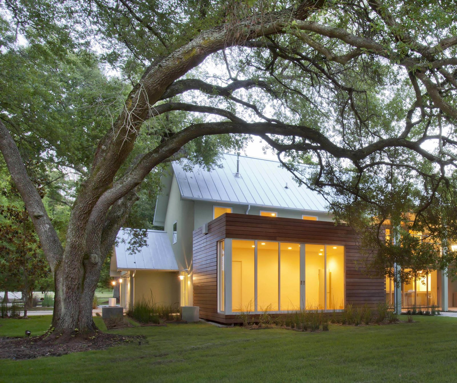 """Oak trees are a precious but delicate feature of southern landscapes: their shallow roots extend far from their bases and are vulnerable to light foot traffic and certainly building foundations. +one design & construction used a """"coil pile"""" foundation system, essentially of corkscrew-like supports, that allows the guest room to harmlessly float over the roots of this 80-year old tree.  A Renovation Reconnects a House to its Louisiana Landscape by Zachary Edelson"""