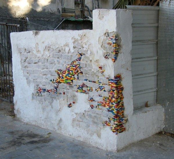 Chinking? Mosaic? No, it's Lego bombing.