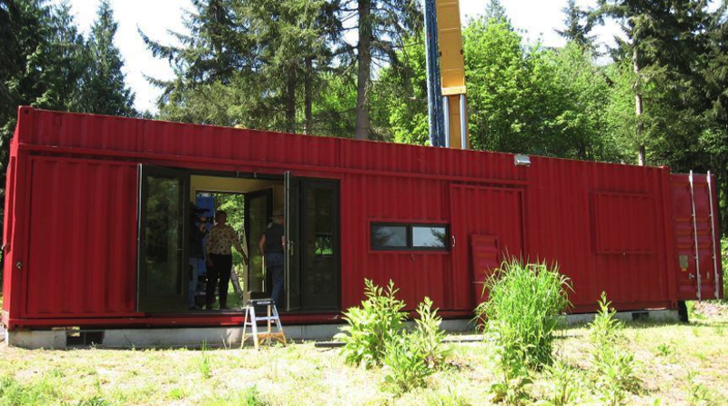 Repurposed shipping containers serve as the primary materials for the houses and working spaces designed by ShelterKraft. The company's designs focus primarily on disaster relief projects, drawing from existing steel frames and skins in order to reduce the use of new materials. Their buildings range from small cargo cottages of 160-square-feet to 700-square-foot warehouses for industrial facilities. Athough they come with electric power, heat and plumbing, they generally require a pre-existing concrete foundation and a local contractor to ensure a smooth, safe installation.