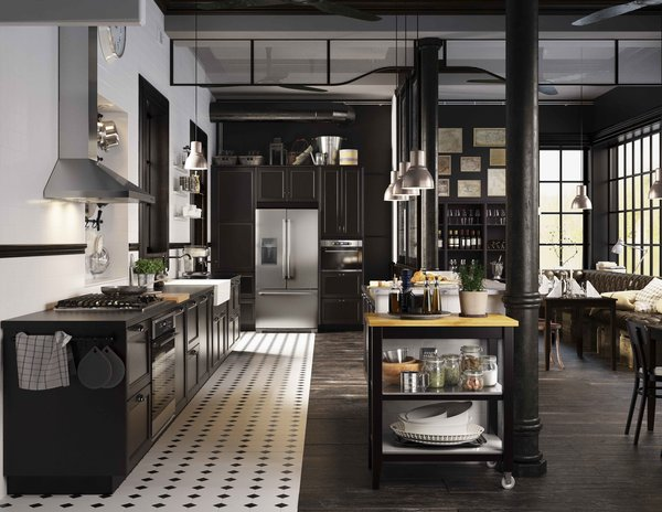 The system comes in a range of styles, from high tech to country, from light woods to dark, as well as an extensive choice of hardware and countertop surfaces, now clearly displayed right next to the cabinets.