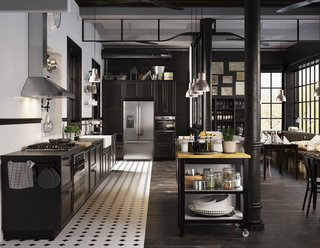 10 Stunning Ways to Use Black in Your Kitchen - Photo 4 of 10 - The system comes in a range of styles, from high tech to country, from light woods to dark, as well as an extensive choice of hardware and countertop surfaces, now clearly displayed right next to the cabinets.
