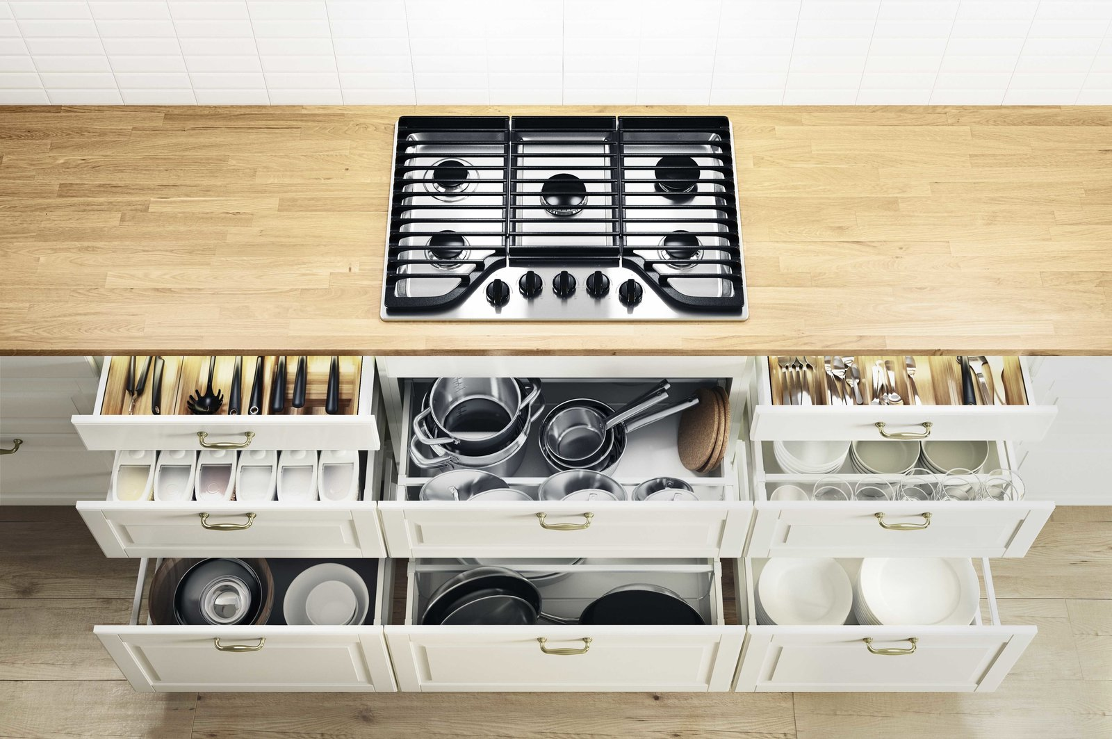 One of the system's best new features are the interior drawers, which can now be as detailed as the most expensive high-end systems, providing a place for everything with drawers for pots, knives, tablelinens, and dinnerware.