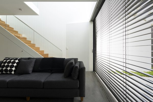When the sun is at its brightest, the east-facing glass wall is shielded by retractable Horiso venetian blinds that have been powdercoated to match the extension's charcoal cladding. Photo 7 of Cosgriff House modern home