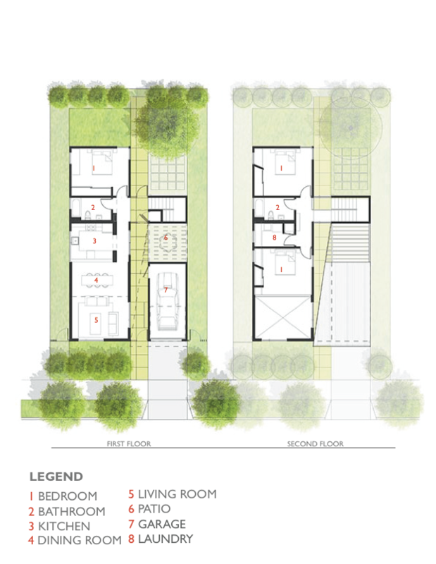 While each of the floor plans varies based on the lot they were constructed on, they share similar characteristics. The 74th Street Prototype is shown here.