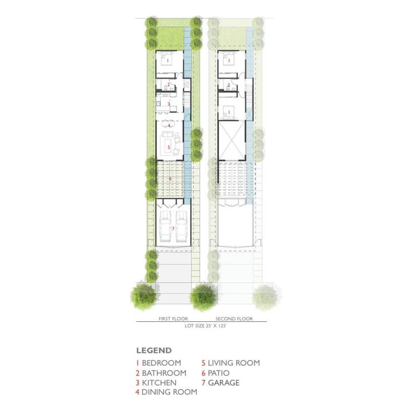 """The 99th Street plan is shown here. """"Layouts were driven by the most basic design principles: hyper-efficient floor plans that minimize circulation with singularly-located plumbing stacks,"""" Lehrer says. """"The roof slope and roof-site drainage was also made as simple as possible. The continuum of public to private space was carefully orchestrated."""""""