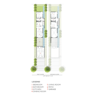 """Vibrant Affordable Housing Prototypes in Los Angeles - Photo 11 of 11 - The 99th Street plan is shown here. """"Layouts were driven by the most basic design principles: hyper-efficient floor plans that minimize circulation with singularly-located plumbing stacks,"""" Lehrer says. """"The roof slope and roof-site drainage was also made as simple as possible. The continuum of public to private space was carefully orchestrated."""""""