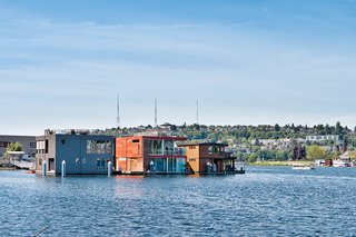 How to Build a Floating Home - Photo 1 of 3 - Architect Eric Cobb was hired to design an 1,800-square-foot floating home for a Seattle couple. It was prefabricated at a shipyard in Port Townsend, Washington, and traveled by tugboat to its final destination, Seattle's Lake Union.