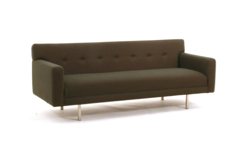 Thanks to its shallow frame, this sophisticated, retro design fits well into small spaces. The seat and back are all built-in, so its clean lines remain intact. Available in numerous environmentally friendly fabrics and fillings. Over 2,000 fabric options and colors, or you can provide your own. The Ason Sofa is also available as a chair.