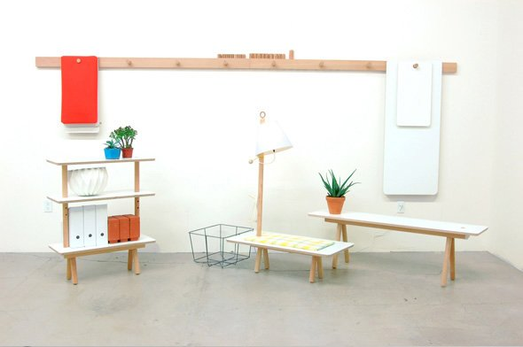 The Peg Series is a flexible furniture system made up of simple components, which can be assembled in a variety of ways to accommodate a multitude of scenarios. When not in use, the pieces hang flat against the wall.