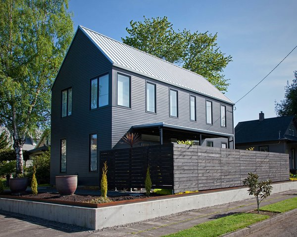 Scott Pitek designed this gabled structure for Betty Rahman on a 5,000-square-foot lot in Portland, Oregon.