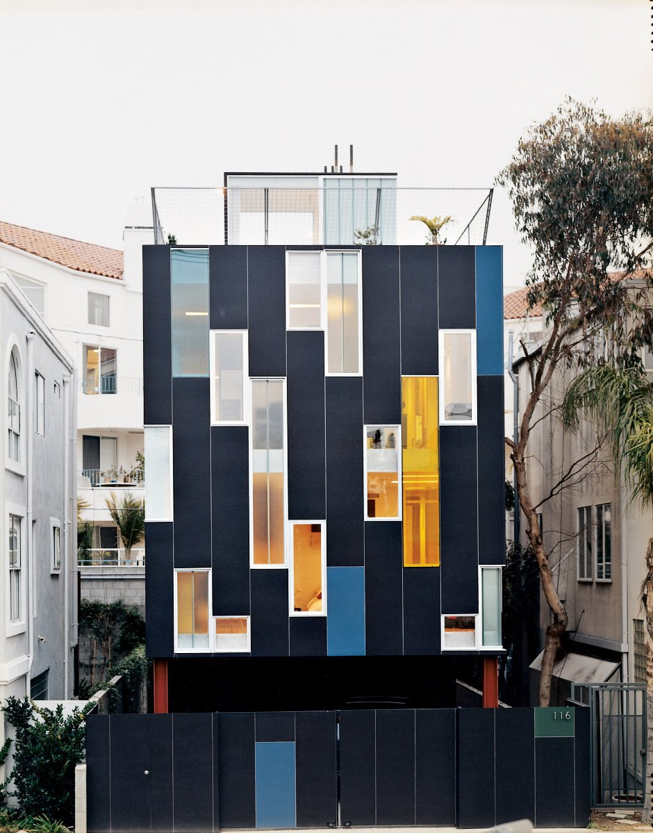 Architect Lorcan O'Herlihy created a remarkable residence for himself and his wife, Cornelia, just off Pacific Avenue in Venice, California. Photos by: Misha Gravenor Tagged: Exterior and House.  16 Funky Facades by Andrea Smith from Ways to Use Fiber-Cement Panels