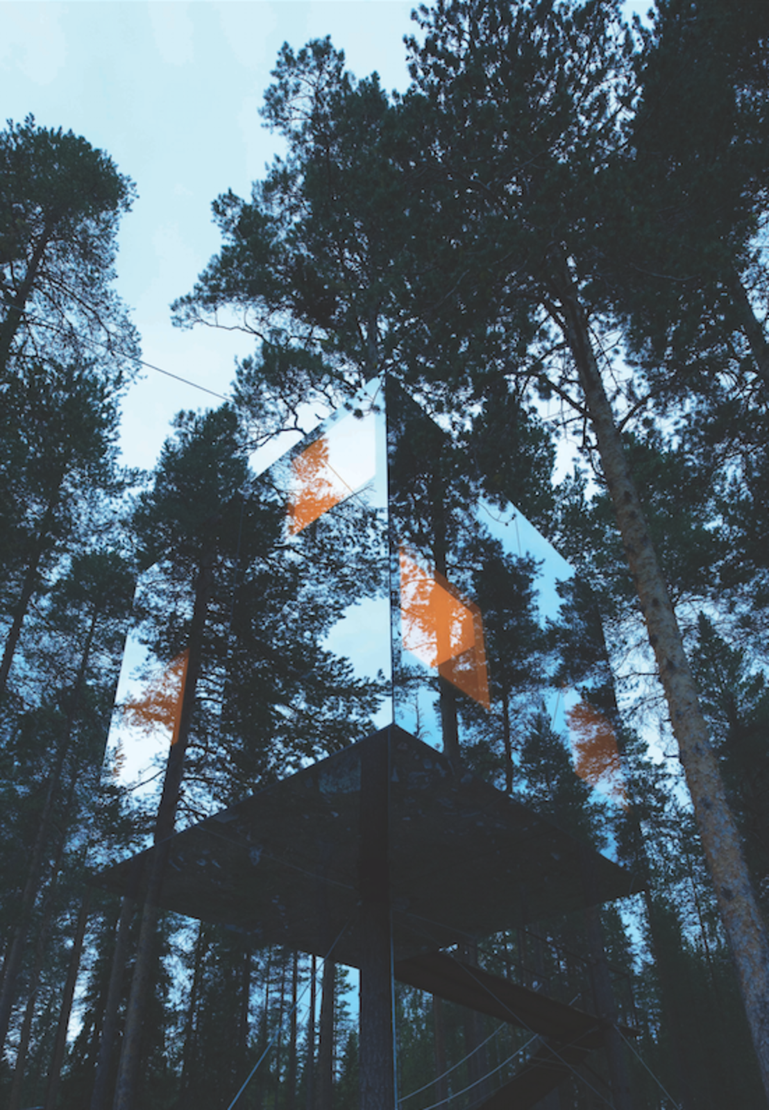 This tree house in Sweden with a mirrored exterior by Tham and Videgård Arkitekter is just large enough to host two people. Tagged: Exterior, House, and Treehouse Building Type.  Cabins & Hideouts by Stephen Blake from Truly Imaginative Buildings Around the World