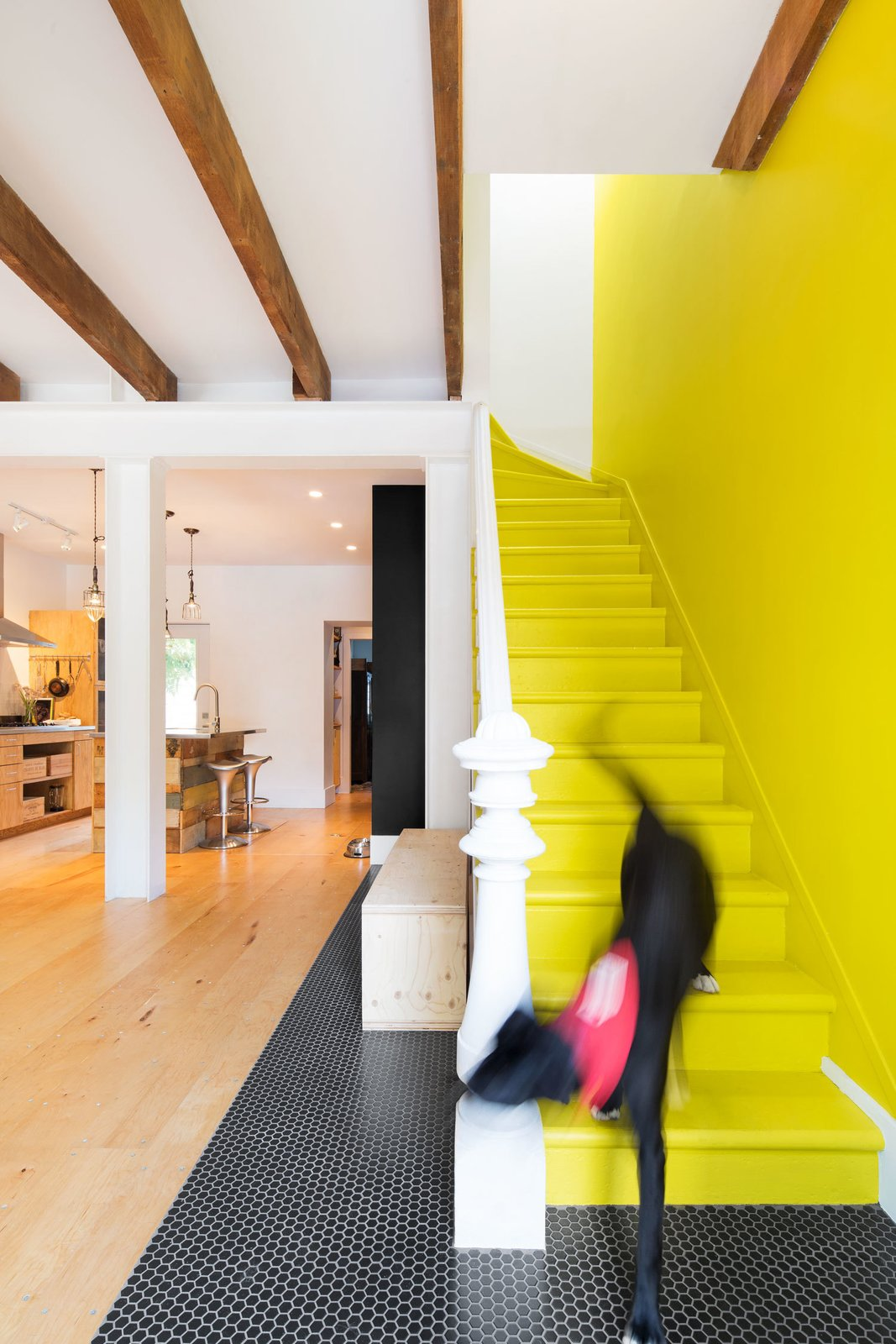 """I always wanted to have my very own yellow brick road,"" says Viviana de Loera, whose favorite part of the home is the playful staircase. The original stairs and handrail were preserved in the renovation. Tagged: Staircase, Wood Tread, and Wood Railing.  Photo 9 of 25 in 25 Bold Ways to Decorate with Yellow from How to Decorate With Yellow (Without the Smiley-Face Connotations)"