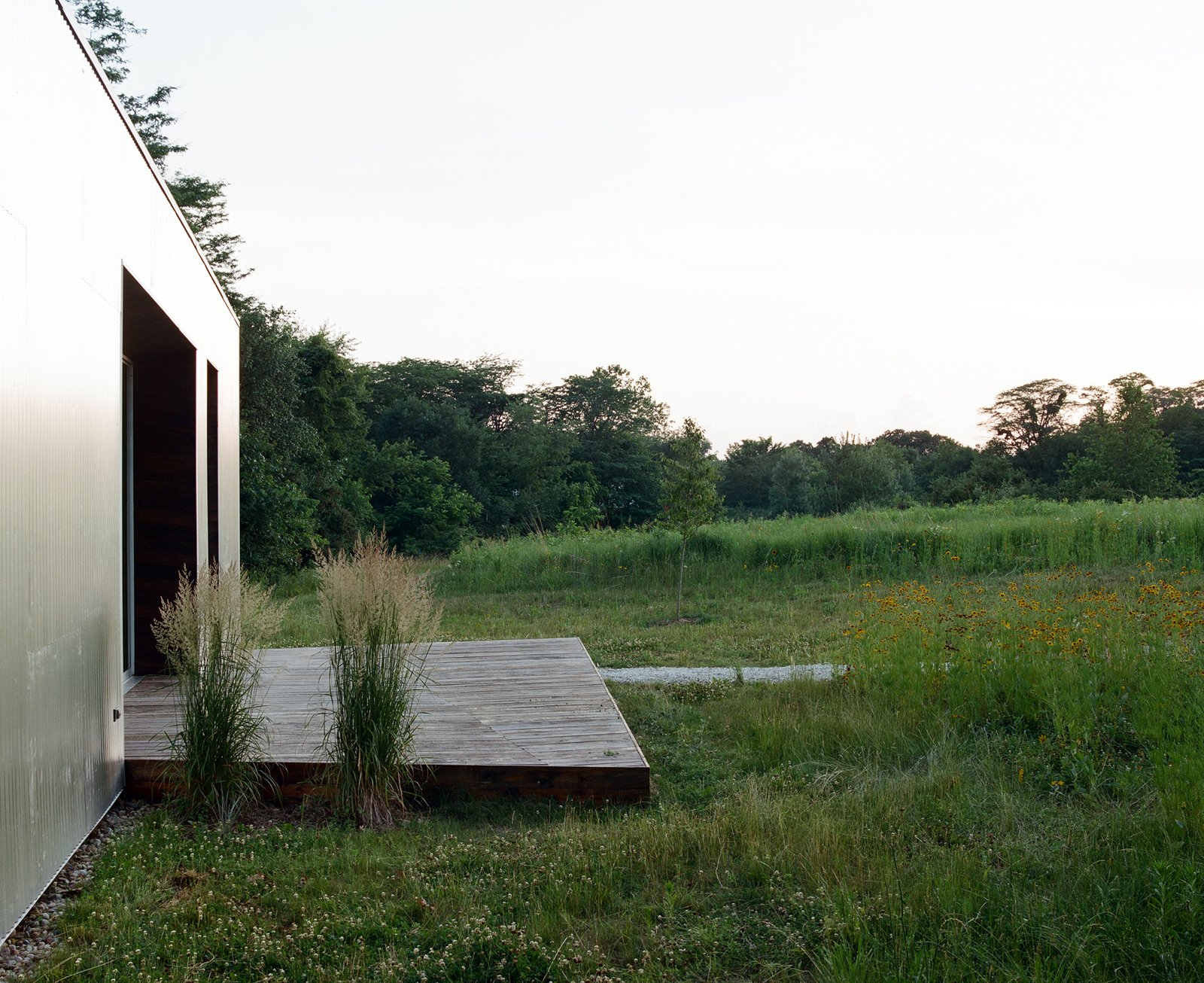The design for the exterior of the house keeps things super simple—a small deck bridges the door with the grassy meadow, but allows the meadow itself to be the focus of the home's outdoor space. Tagged: Outdoor, Wood Patio, Porch, Deck, and Small Patio, Porch, Deck.  New Grass Roots by Dwell
