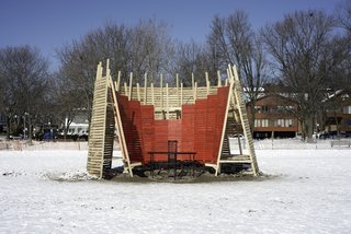 Wing Back: Tim Olson (Walpole, New Hampshire) A curved crescent of wood, inspired by the profile of a wing back chair, surrounds a fire pit, creating a stylish warming hut for breaks from long walks in the snow-covered landscape.
