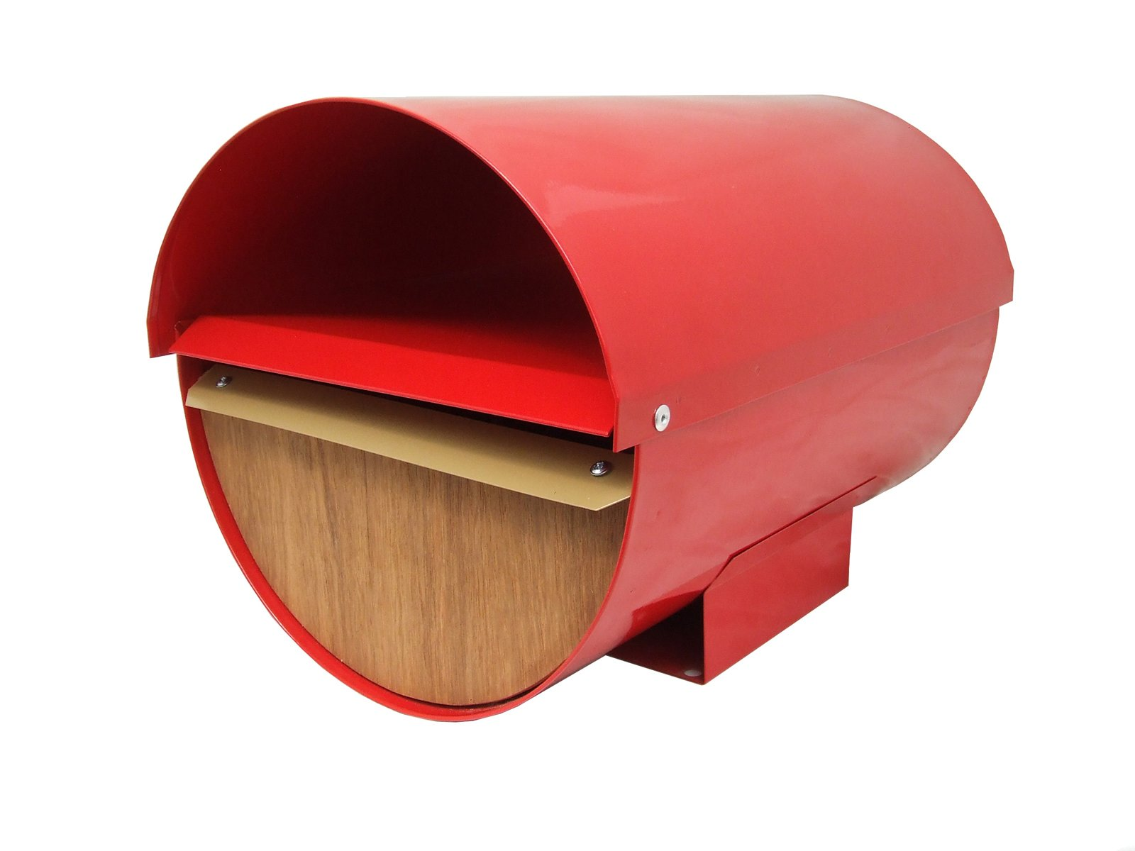 Cadrona in Red from Mailboxes.co, $150-A powder-coated zincalume body and marine plywood front means zero rust and mold from this New Zealand-made mailbox; a locked lower half keeps mail and packaged protected while the open upper half holds newspapers. 8 Best Modern Mailboxes to Buy - Photo 4 of 6