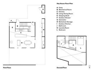 Sky House Floor PlanA    EntryB    Mechanical Room C    KitchenD    Living-Dining RoomE    Sleeping NookF    Outdoor ShowerG    GeneratorH    Workshed-StorageI    Outdoor KitchenJ    BathroomK    Laundry RoomL    Bedroom