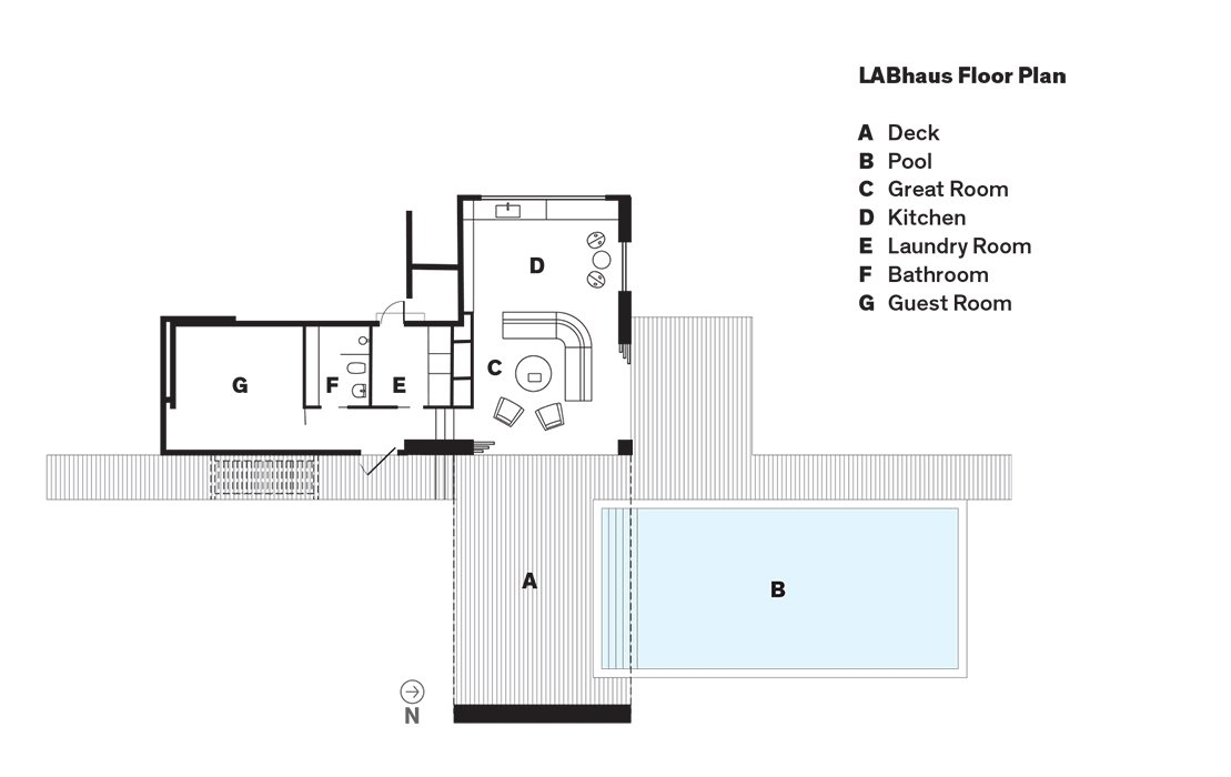 LABhaus Floor Plan  A    Deck  B    Pool  C    Great Room  D    Kitchen  E    Laundry Room  F    Bathroom  G    Guest Room  Photo 11 of 11 in Cute Couple Alert: Modern Prefab Poolhouse Addition to a 1920s Sears Kit House