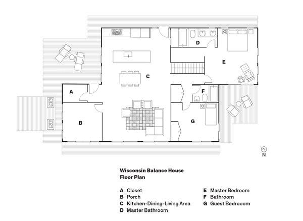Wisconsin Balance House   Floor Plan  A    Closet  B    Porch  C    Kitchen-Dining-Living Area  D    Master Bathroom  E    Master Bedroom  F    Bathroom  G    Guest Bedrooom