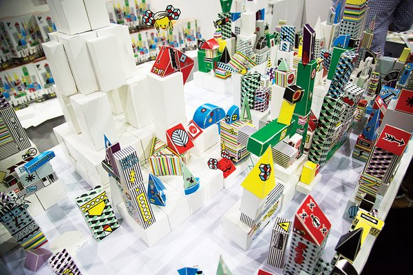 Artist-in-residence Grace Hawthorne hosted a Paper Punk fold-a-thon, in which attendees created a paper metropolis that grew over three days.